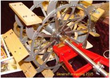 1m, Dette er et skovlhjul i 1.8 i forhold til forbilledet, som er D/S Hjejlen bygget i 1861 altså 155år – modellen bygges af Hans Jørgen Pedersen, Hvorslev! Foto Ks; MDK generalforsamlingen i 2015